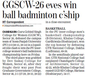 Badminton competition held (Guru Gobind Singh College for Women Sector 26)