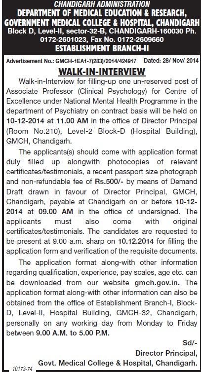 Associate Professor for Clinical Psychology (Government Medical College and Hospital (Sector 32))