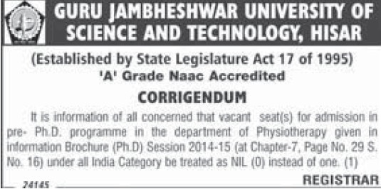 PhD Programme (Guru Jambheshwar University of Science and Technology (GJUST))