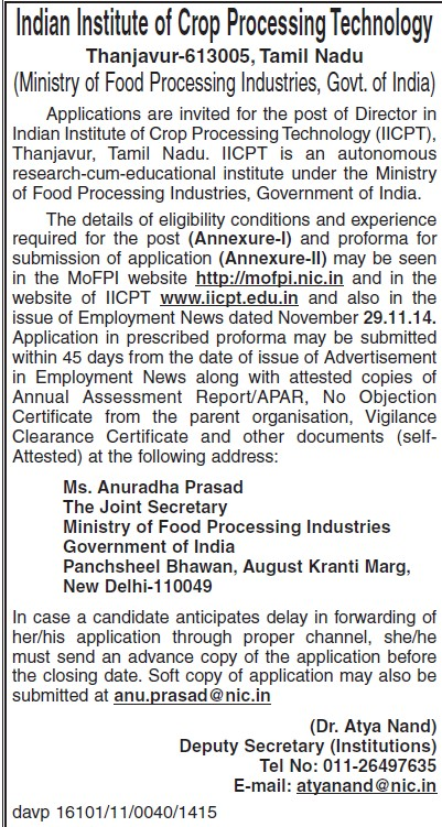 Director required (Indian Institute of Crop Processing Technology (IICPT))