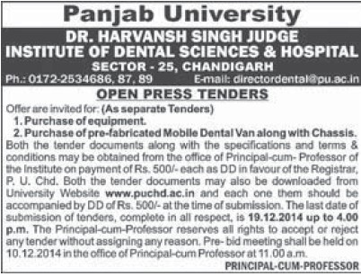 Purchase of Dental equipments (Dr Harvansh Singh Judge Institute of Dental Sciences and Hospital)