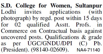 Asstt Professor in Commerce (SD College for Women)