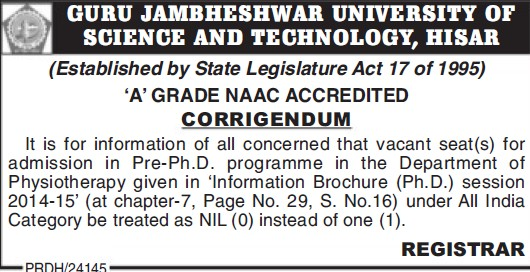 PhD Programme in Physiotherapy (Guru Jambheshwar University of Science and Technology (GJUST))