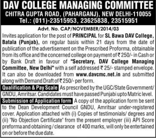 Principal on regular basis (DAV College Managing Committee)