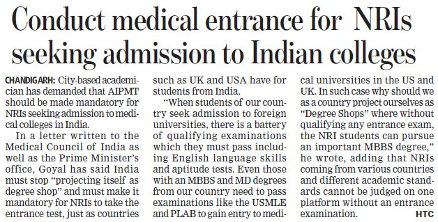 Conduct medical entrance for NRIs seeking admission to Indian Colleges (Medical Council of India (MCI))