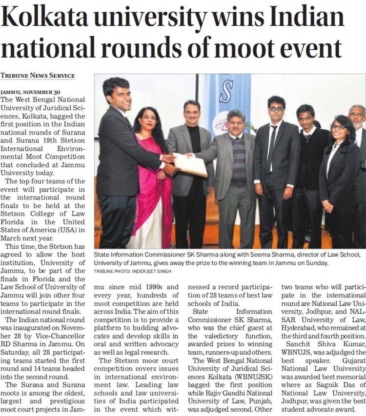 Univ wins Indian National rounds of moot event (West Bengal National University of Juridical Sciences)