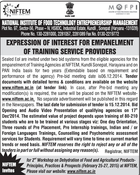 Empanelment of Training Service Providers (National Institute of Food Technology Entrepreneurship and Management (NIFTEM))
