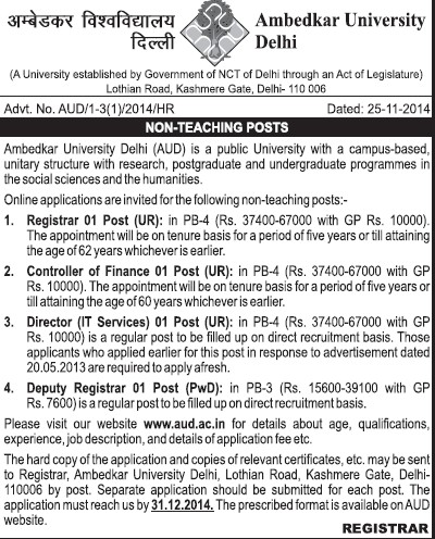 Deputy Registrar and Controller of examination (Bharat Ratna Dr BR Ambedkar University)
