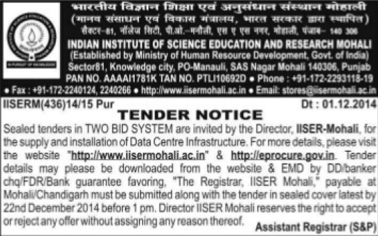 Installation of Data Centre Infrastructure (Indian Institute of Science Education and Research (IISER))