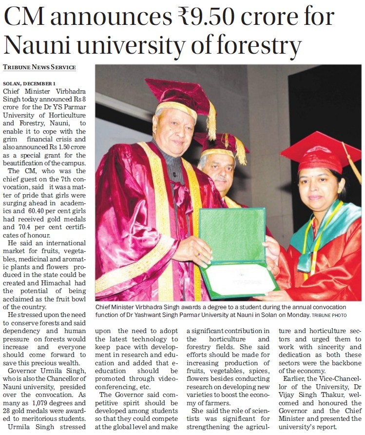 CM announces Rs 9.50 cr for Nauni Univ (Dr Yashwant Singh Parmar University of Horticulture and Forestry)