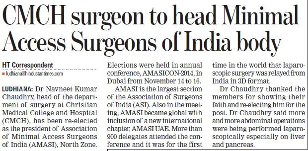 CMCH surgeon to head Minimal access Surgeons of India body (Christian Medical College and Hospital (CMC))