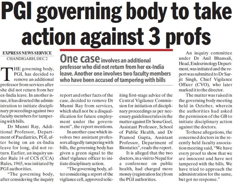 PGI governing body to take action against 3 profs (Post-Graduate Institute of Medical Education and Research (PGIMER))
