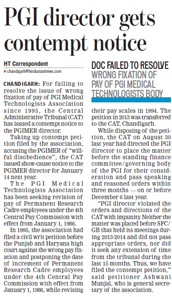 PGI director gets contempt notice (Post-Graduate Institute of Medical Education and Research (PGIMER))