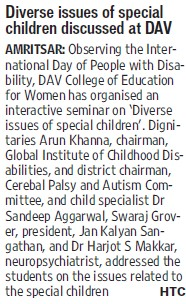 Diverse issues of special children discuseed (DAV College for Boys)