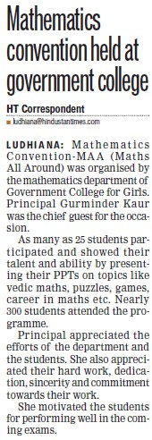 Mathematics conventional held (SCD Govt College)