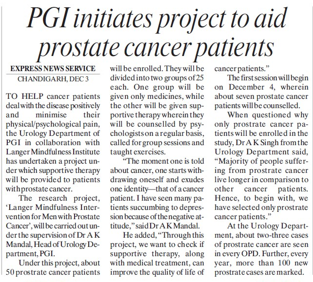 PGI institutes project to aid prostate cancer patients (Post-Graduate Institute of Medical Education and Research (PGIMER))