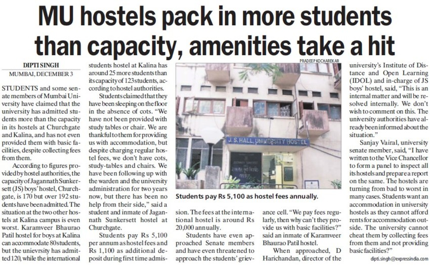 MU hostels pack in more students than capacity (University of Mumbai (UoM))