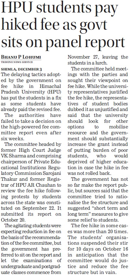 Students pay hiked fee as govt sits on panel report (Himachal Pradesh University)