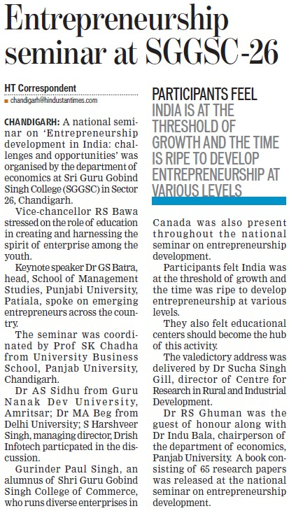 Entrepreneurship seminar held (SGGS Khalsa College Sector 26)