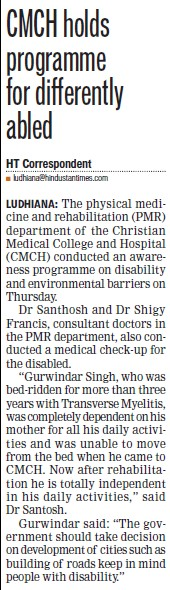 CMCH holds programme for differently abled (Christian Medical College and Hospital (CMC))