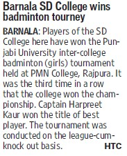 College wins badminton tourney (SD College)