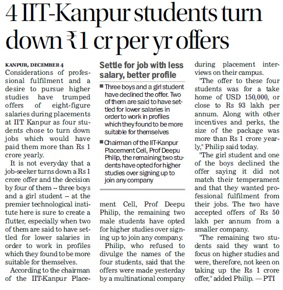 Four IIT K students turn down Rs1 cr per yr offers (Indian Institute of Technology (IITK))