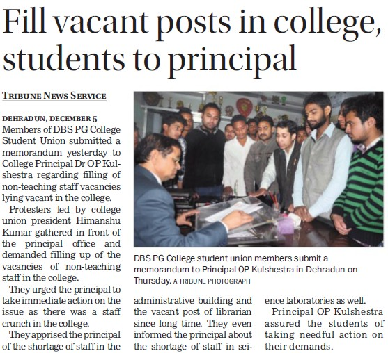 Fill vacant posts in College, students to Principal (DBS PG College)