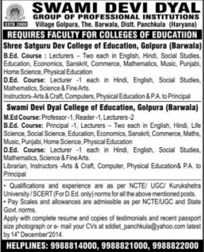 Principal and Lecturers (Swami Devi Dyal Group of Professional Institutes)