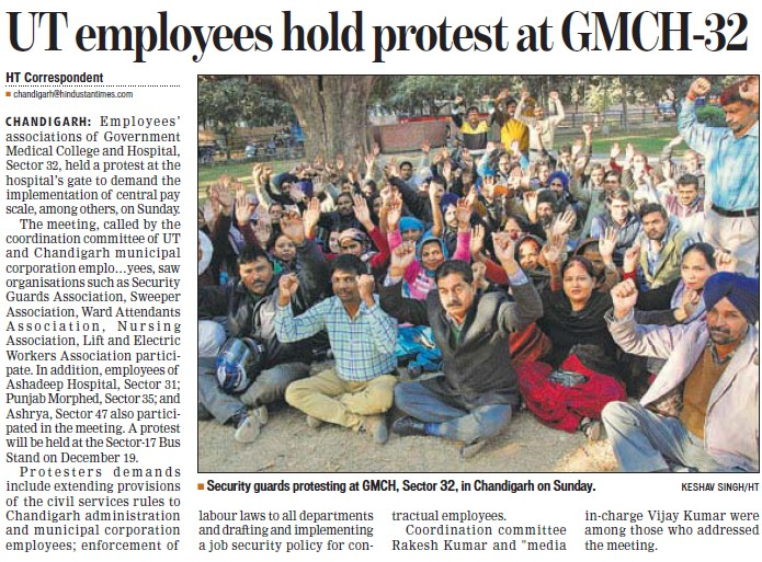 UT employees hold protest at GMCH 32 (Government Medical College and Hospital (Sector 32))
