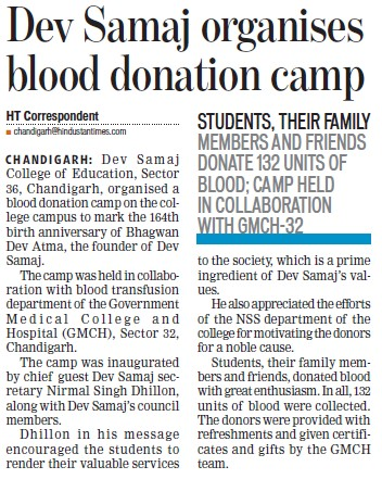 Blood donation camp held (Government Medical College and Hospital (Sector 32))
