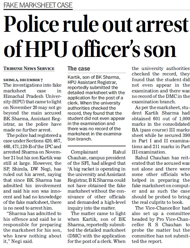 Police rule out arrest of HPU officers son (Himachal Pradesh University)