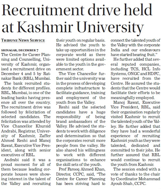 Recruitment drive held at Kashmir University (University of Kashmir Hazbartbal)