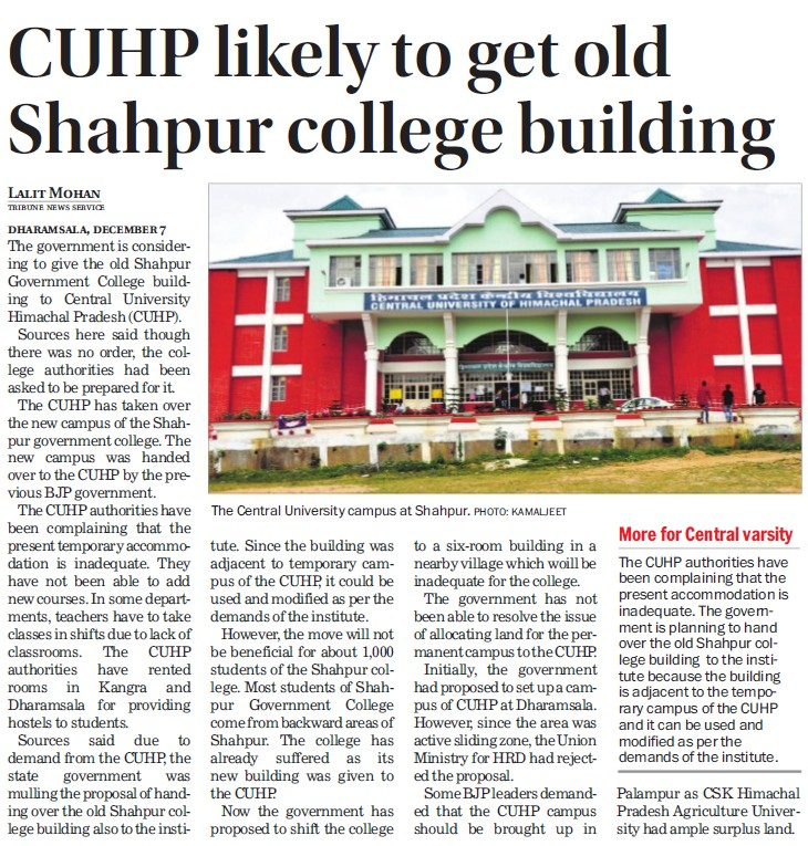 CUHP likely to get old Shahpur college building (Central University of Himachal Pradesh)
