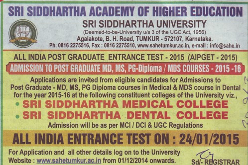 MD MS and PG Diploma course (Sri Siddhartha University)