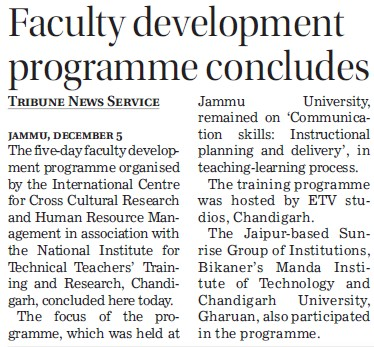 Faculty Development Program held (NITTTR)