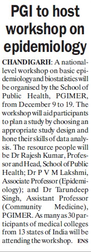 PGI to host workshop on epidemiology (Post-Graduate Institute of Medical Education and Research (PGIMER))
