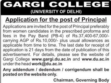 Principal required (Gargi College)