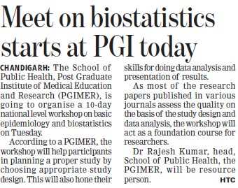 Meet on biostatistics starts (Post-Graduate Institute of Medical Education and Research (PGIMER))