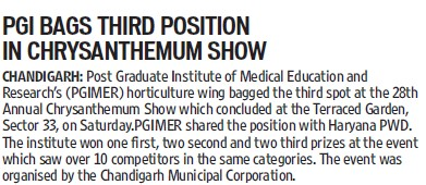 PGI bags third position in Chryanthemum show (Post-Graduate Institute of Medical Education and Research (PGIMER))