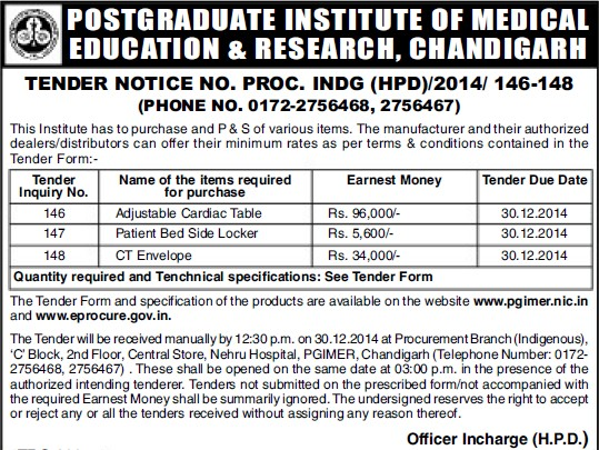Supply of Patient bed side locker (Post-Graduate Institute of Medical Education and Research (PGIMER))