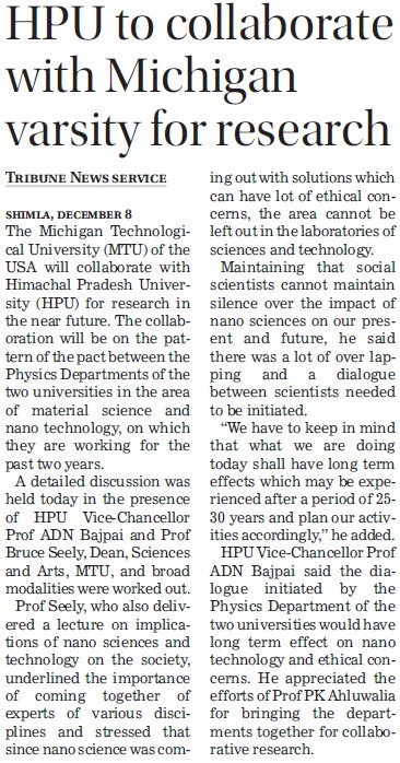 HPU to collaborate with Michigan varsity for research (Himachal Pradesh University)