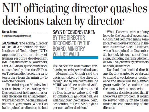 NIT officiating director quashes decisions taken by director (Dr BR Ambedkar National Institute of Technology (NIT))
