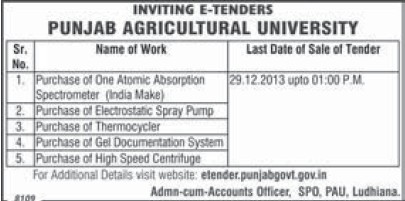 Purchase of Thermocycler (Punjab Agricultural University PAU)