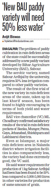 New BAU paddy variety will need 50 percent less water (Bihar Agricultural University)