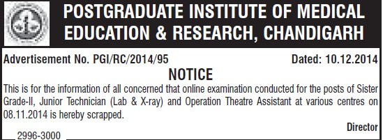 Operation Theatre Asstt (Post-Graduate Institute of Medical Education and Research (PGIMER))