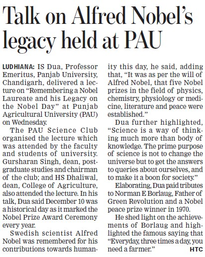 Talk on alfred nobel legacy held (Punjab Agricultural University PAU)