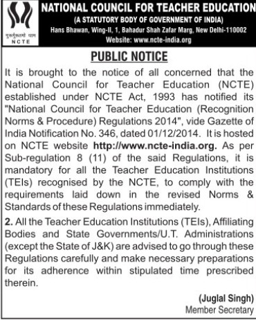 Recognition Norms and Procedure Regulations 2014 (National Council for Teacher Education NCTE)
