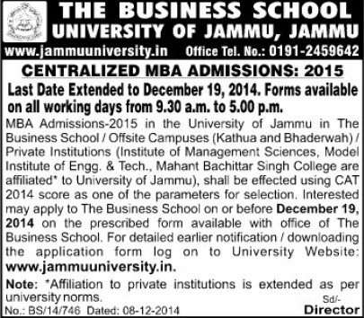 MBA Program (Jammu University)