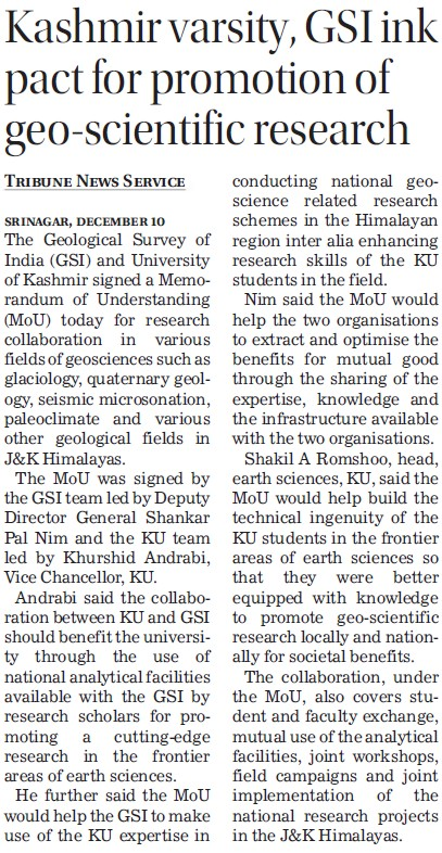 GSI link pact for promotion of geo scientific research (University of Kashmir Hazbartbal)