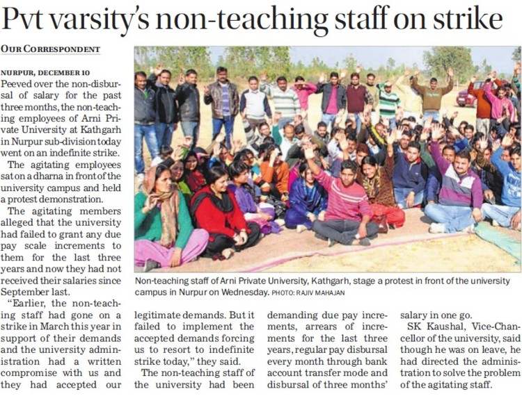 Pvt varsity non teaching staff on strike (Arni University Kathgarh)